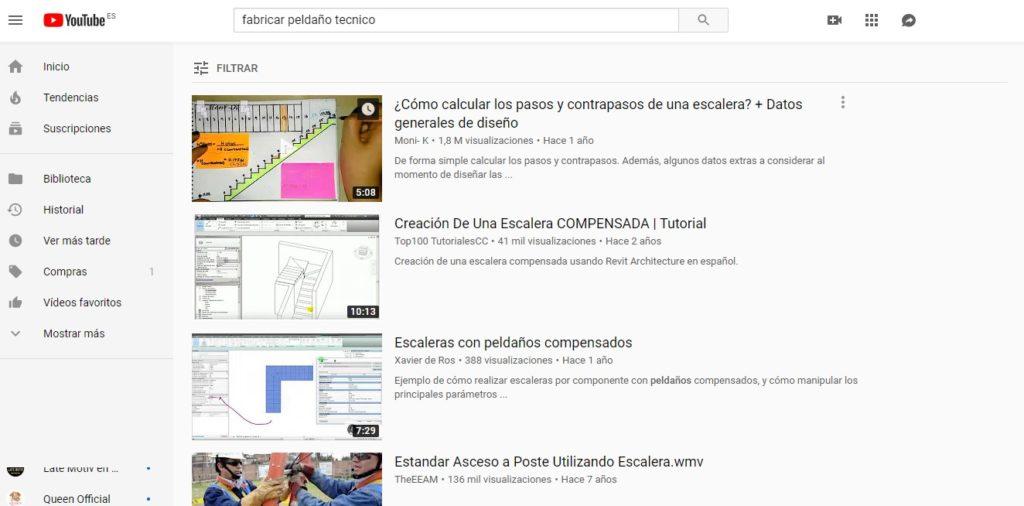 peldaño técnico Youtube búsqueda